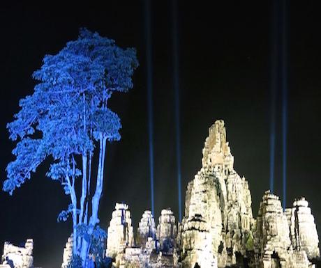 Angkor Thom and a giant blue tree.