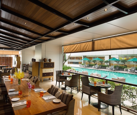 Views of the pool from the bright and airy Tosca.