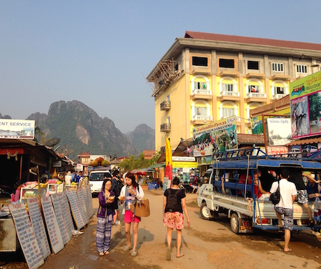 The centre of town in Vang Vieng.