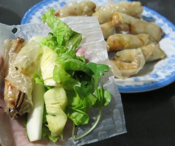 fried vegan spring rolls in Vietnam