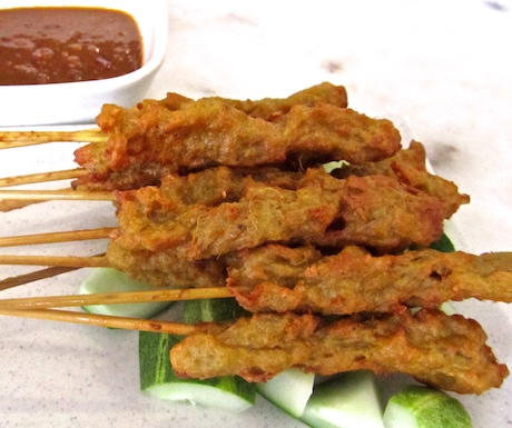 Mock meat vegan satay,it's amazing what can be done with mock-meat.