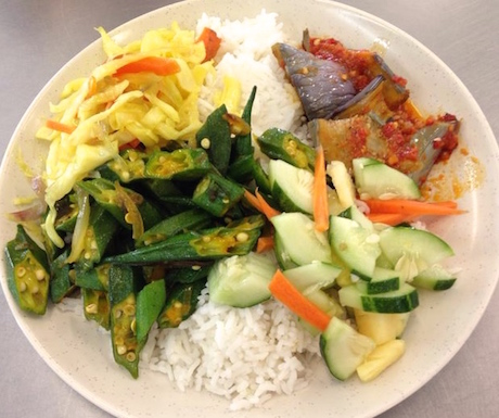We found this huge selection of vegan treats in a nasi campur restaurant in Mersing at Restoran Syed Ali.