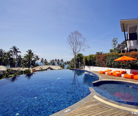 Lovely view over the resort and out over the Gulf of Thailand from the infinity pool.