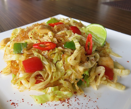 Spicy glass noodles with vegetables and curry flavours at Chams House