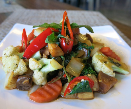 vegetable and hot basil dish at Chams House