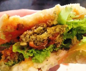 vegan falafel sandwich in Laos