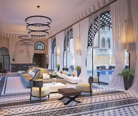 Beautiful Moroccan inspired design with light open spaces and striking tiled floors.