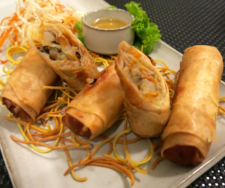 vegan spring rolls at Sarai Resort