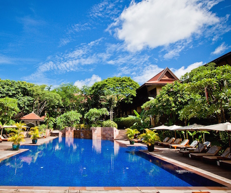 salt water swimming pool at Victoria Angkor Resort