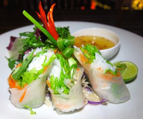 vegan fresh spring rolls at Victoria Angkor Resort