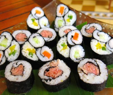 vegan sushi selection for breakfast at Victoria Angkor Resort