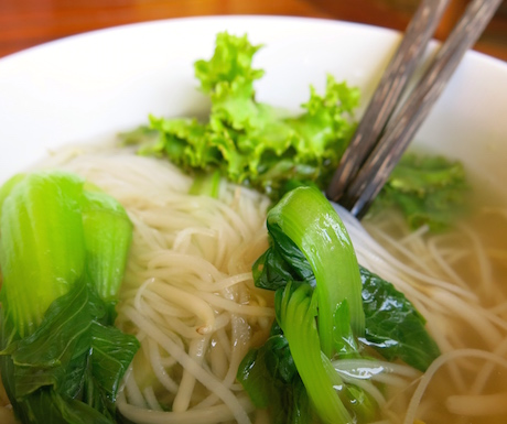 vegan noodle soup at Victoria Angkor Resort