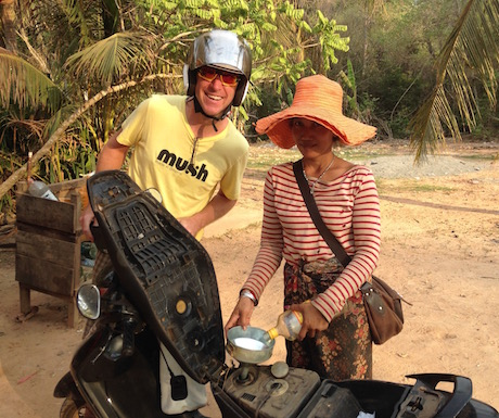 Filling up with petrol in the jungle.