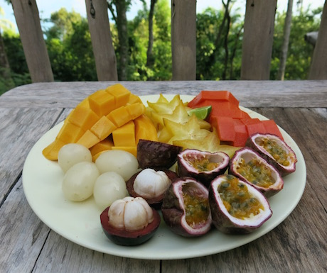 delicious fruit paltter with breakfast at Soneva Kiri