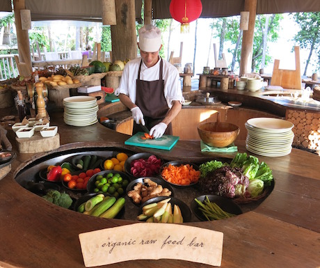 Fresh, living food to start the day from the organic raw food bar at Soneva Kiri