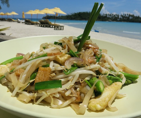 Tofu pad thai with a view.