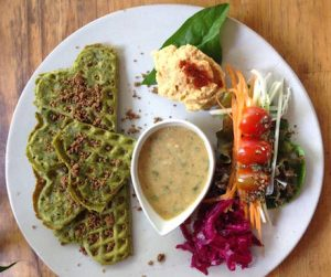 vegan fawaffle plate at Artillery in Siem Reap