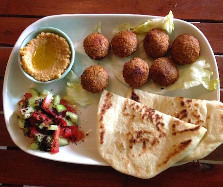 vegan falafel plate at AtMOsphere in Siem Reap