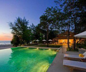 infinity swimming pool overlooking the beach at Centara Trat