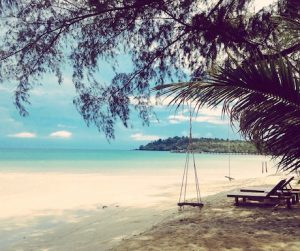 The beach was deserted and the sea was blue at Seafar Resort Koh Kood