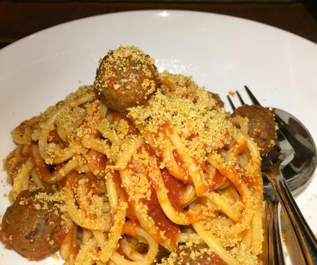 vegan meatballs and spaghetti at La Pasta in Siem Reap
