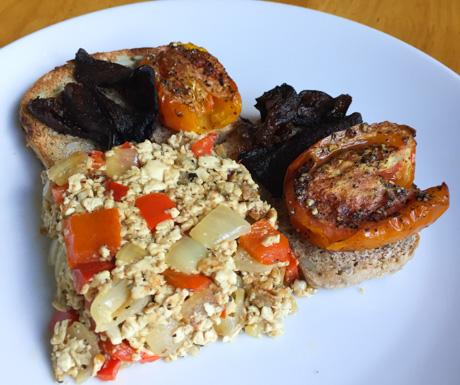 Vegan Villa, tofu scramble, tomatoes, eggplant