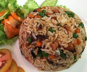 fried rice with vegetables and mock meat at Yuan Sheng Vegetable Restaurant in Siem Reap