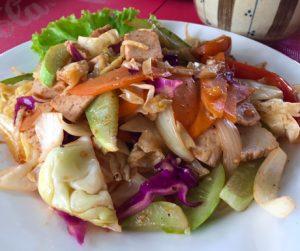 vegan noodles at Ambrosia Cafe in Battambang