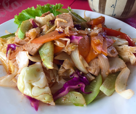 fried noodles, tofu, Ambrosia, Battambang, vegan food, vegan restaurant, Cambodia, vegan travel