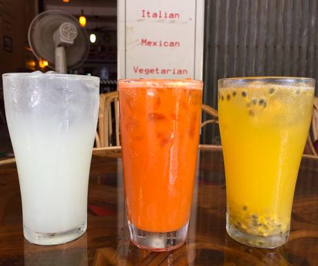 juices at Ambrosia Cafe in Battambang