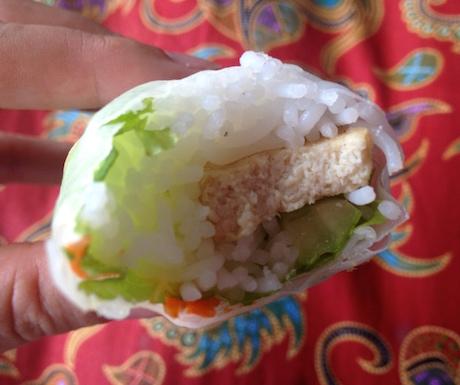 vegan fresh spring rolls from Jewel in the Lotus in Battambang