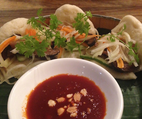 shiitake mushroom bao with slaw and peanuts at Jaan Bai