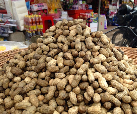 vegan steamed peanuts in Cambodia