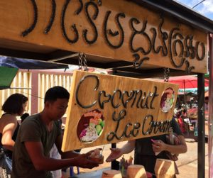 coconut ice cream food cart in Battambang