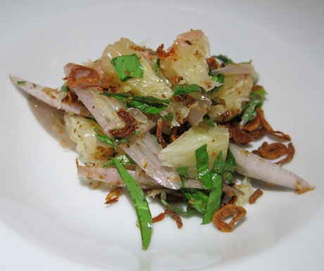 Pomelo and water lily stem salad with lemon basil, toasted coconut and deep fried shallot.