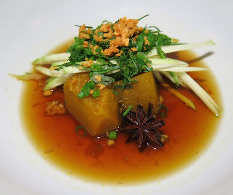 Caramelized palm sugar and star anise braised pumpkin with green mango.