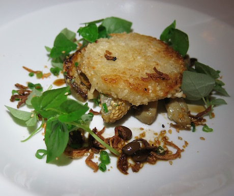 Crispy rice cake with tiger eggplant and wild mushrooms, fermented soy bean, sesame and shiny cresson.