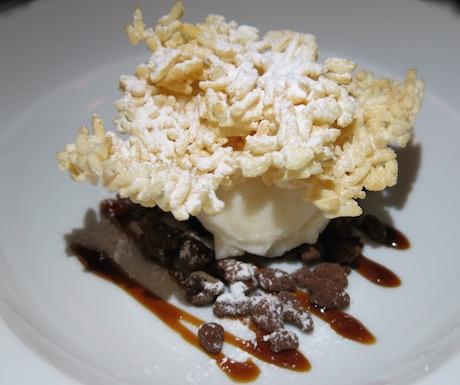 Tofu gelato with chocolate rice praline, caramelized palm sugar syrup.