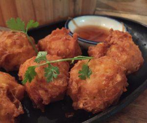 vegan sweetcorn fritters at Jaan Bai in Battambang