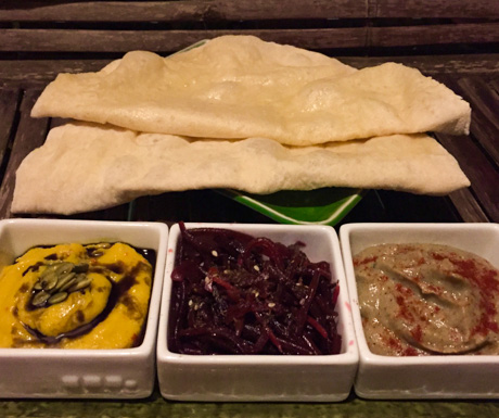 trio of dips, Riverside Balcony Bar, Battambang, Cambodia, vegan food