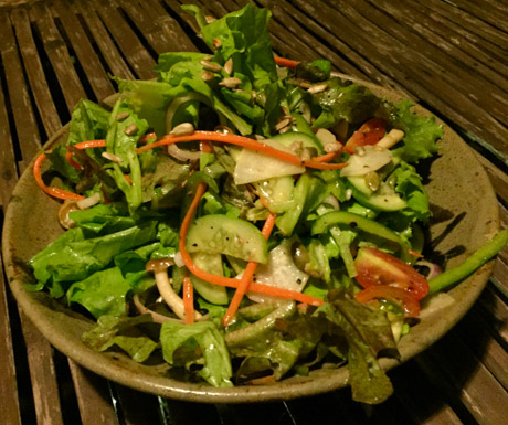 house salad, Riverside Balcony Bar, Battambang, vegan food, vegan restaurant, Cambodia, vegan travel