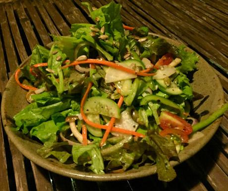 vegan saladat Riverside Balcony Bar in Battambang