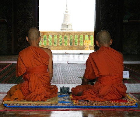 Buddhist monks meditating in Cambodia.