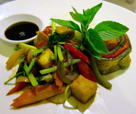 Stir fried vegetables and tofu aboard RV AmaDara.