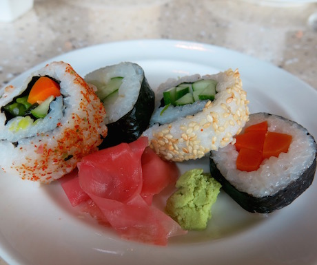 The sushi was excellent - who doesn't love a fresh vegan sushi feast for breakfast?