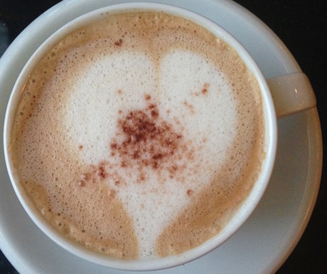 Soya cappuccino served with love in the Grand Tower lounge at Sheraton Saigon Hotel and Towers