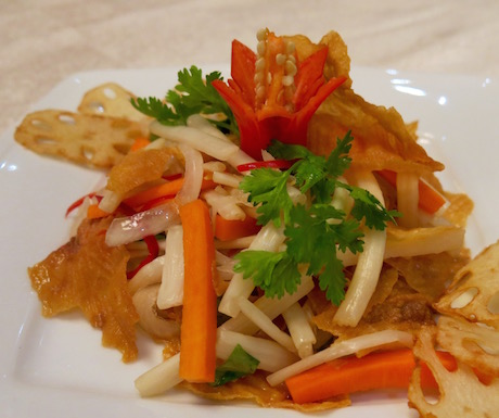 vegan lotus root salad at Li Bai in Saigon