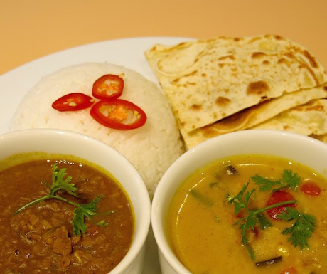 duo of Indian curries with rice and vegan roti