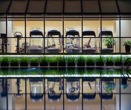 View of the gym from the poolside at Sheraton Saigon Hotel and Towers