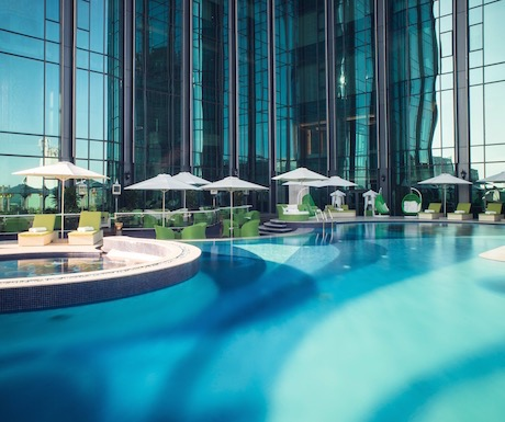 Swimming pool with extra oxygen and under water music at The Reverie Saigon